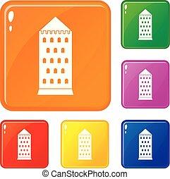 bâtiment, ancien, icônes, couleur, vecteur, ensemble