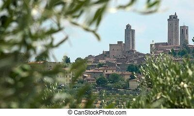 bâtiment, ancien, italie, san, tours, voyage, gimignano,...