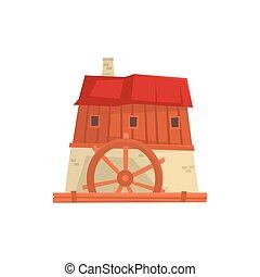 bâtiment, ancien, moyen-âge, illustration, dessin animé, vecteur, éolienne
