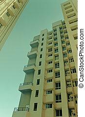 bâtiment, angle, bas, vue