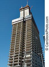 bâtiment, angle, grues, gratte-ciel, nouveau, vue, bas