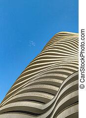 bâtiment, angle, moderne, bas, vue extérieure, guayaquil