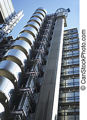 bâtiment, angleterre, lloyd's, bas angle, londres, vue