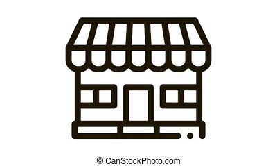 bâtiment, animation, magasin, icône, magasin