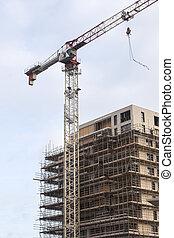 bâtiment, appartement, échafaudage, site, nouveau, grue