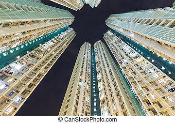 bâtiment, appartement, ciel, nuit
