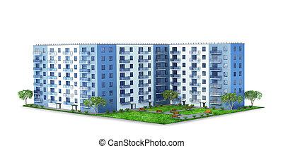 bâtiment, appartement, city., moderne, landscaping, vivant, endroit, illustration, 3d