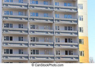 bâtiment, appartement, construction, ensoleillé, gris, balcons, bearing-wall, partie, jour