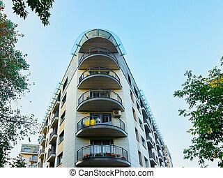 bâtiment, appartement, contemporain, extérieur