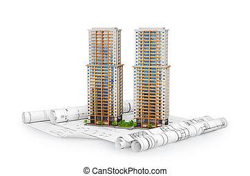 bâtiment, appartement, drawing., moderne, illustration, plan, 3d