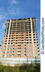 bâtiment, appartement, grand, construction, concept.