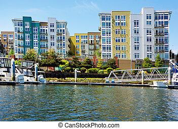 bâtiment, appartement, moderne, exterior.