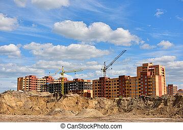 bâtiment, appartement, nouveau, construction, secteur