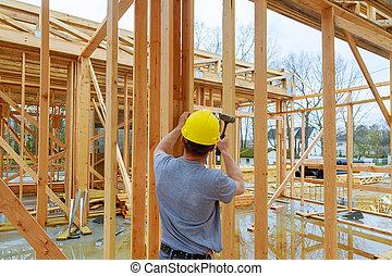 bâtiment, appartement, nouveau, fonctionnement, commercial, deux, toit, équipage, construction, orégon, sheeting, histoire