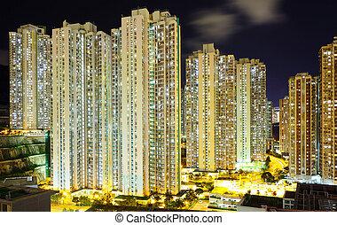 bâtiment, appartement, nuit
