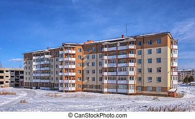 bâtiment, appartement,  six-story