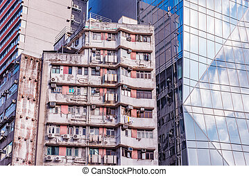 bâtiment, appartement, vieux, bureau, nouveau, bâtiment.