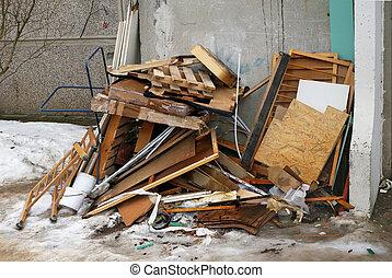 bâtiment, appartement, vieux, conseils, décharge, déchets, meubles