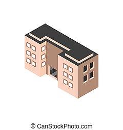 bâtiment, appartements, hôtel, style, isométrique