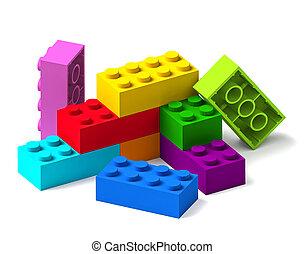 bâtiment, arc-en-ciel, blocs jouet, couleur, 3d