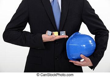 bâtiment, architecte, blocs jouet, tenue