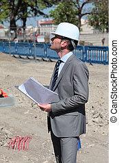 bâtiment, architecte, jeune, hardhat, site