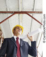 bâtiment, architecte, plans