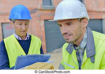 bâtiment, arpenteurs, site