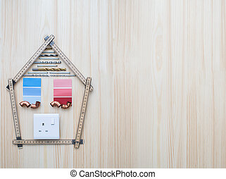 bâtiment, arrangé, composants, maison bois, forme, fond