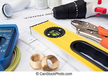 bâtiment, arrangé, plans, maison, composants, outils
