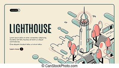 bâtiment, arrière-plan., phare, coloré, retro