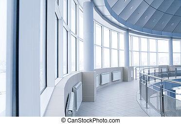 bâtiment, arrondi, bureau, fenetres, moderne, intérieur, colonnes