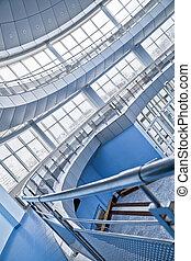 bâtiment, arrondi, bureau, moderne, balcons, intérieur