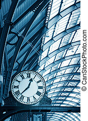 bâtiment, art, horloge, station de métro, moderne