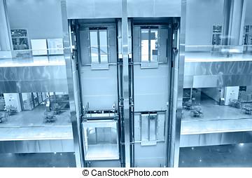 bâtiment, ascenseurs, bureau