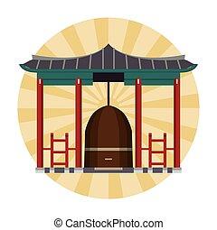 bâtiment, asiatique, temple