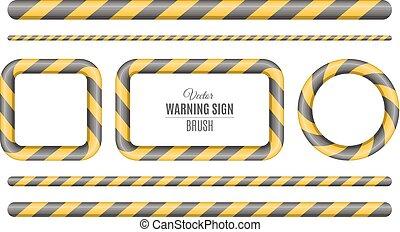 bâtiment, attention., police, seamless, signe jaune, vecteur, noir, brosse, couché, investigation., lines., construction., caution.