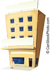 bâtiment, auberge, dessin animé, restaurant