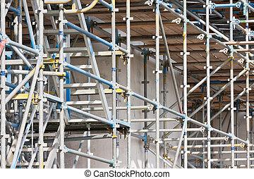 bâtiment, béton, construction, échafaudage, site