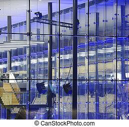 bâtiment, béton, moderne, nuit, verre