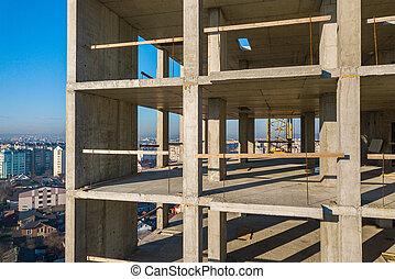 bâtiment, béton, sous, appartement, construction, city., grand, vue aérienne, cadre