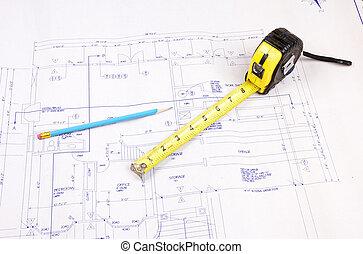 bâtiment, bande, plans, mesure