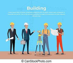 bâtiment, bannière, concept, conception