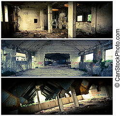 bâtiment, bannières, grunge, abandonnés