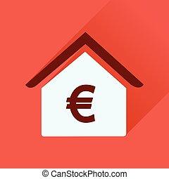 bâtiment, banque, icône, long, ombre, plat