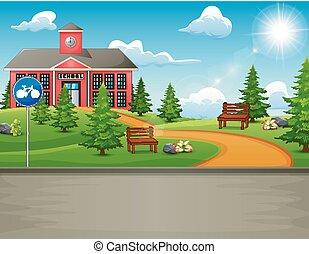 bâtiment, beau, école, nature