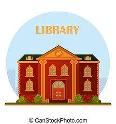 bâtiment, bibliothèque, vector.