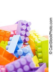 bâtiment, blanc, blocs, coloré