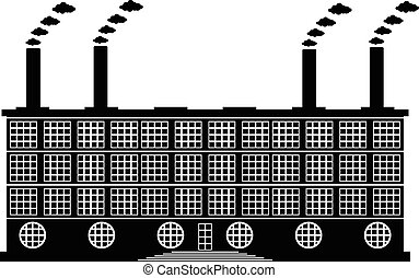 bâtiment, blanc, usine, icône