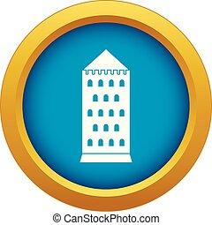 bâtiment, bleu, ancien, isolé, vecteur, icône